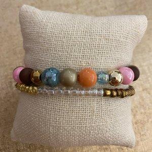 armbandjes aqua/roze/orange