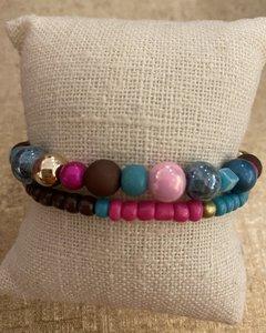 armbandjes aqua/roze/goud
