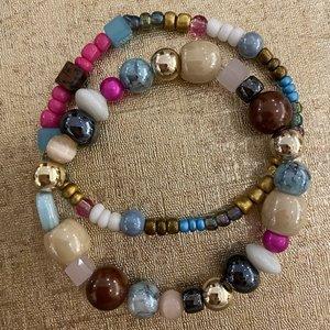armbandjes aqua/wit/roze/bruin
