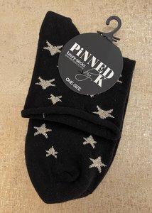 Pinned by K Socks glitter Black gold star